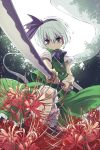 1girl commentary_request flower foreshortening green_eyes green_skirt green_vest hair_between_eyes hair_ribbon highres holding holding_sword holding_weapon katana konpaku_youmu konpaku_youmu_(ghost) looking_at_viewer nunupon0514 outdoors purple_neckwear purple_ribbon red_flower ribbon serious short_hair short_sleeves skirt skirt_set solo spider_lily standing sword touhou vest weapon white_hair