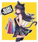 1girl bag bare_shoulders black_dress black_friday black_hair blake_belladonna bow bracelet cat_tail dress english handbag highres iesupa jewelry looking_at_viewer price_tag pun rwby shopping_bag short_dress solo tail thigh-highs yellow_background yellow_eyes