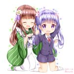 +++ 2girls :d ^_^ ama_usa_an_uniform apron blush brown_hair closed_eyes closed_eyes collared_shirt commentary_request creator_connection dated flower flying_sweatdrops formal gochuumon_wa_usagi_desu_ka? green_kimono hair_flower hair_ornament hand_up holding holding_hair jacket japanese_clothes kimono kneehighs kneeling long_hair long_sleeves maid_apron manga_time_kirara multiple_girls neck_ribbon new_game! no_shoes open_mouth pink_ribbon polka_dot polka_dot_trim purple_hair purple_jacket purple_skirt ribbon shirt skirt skirt_suit smile star striped suit suzukaze_aoba twintails twitter_username ujimatsu_chiya vertical-striped_kimono vertical_stripes very_long_hair violet_eyes white_apron white_flower white_legwear white_shirt wide_sleeves zenon_(for_achieve)