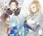 alfyn_(octopath_traveler) armor bag blonde_hair blue_eyes bracelet braided_ponytail brown_hair cloak cyrus_(octopath_traveler) dancer dress fringe_trim gloves h'aanit_(octopath_traveler) hat jewelry linde_(octopath_traveler) long_hair multiple_boys multiple_girls necklace octopath_traveler okii olberic_eisenberg open_mouth ophilia_(octopath_traveler) ponytail primrose_azelhart short_hair simple_background smile snow_leopard therion_(octopath_traveler) translation_request tressa_(octopath_traveler) yellow_eyes