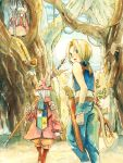 1girl blonde_hair burmecian commentary_request dagger deboo final_fantasy final_fantasy_ix freija_crescent gloves hat long_tongue multiple_boys quina_quen tail tongue traditional_media vivi_ornitier watercolor_(medium) weapon zidane_tribal