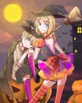 1boy 1girl :p backless_dress backless_outfit bat black_cat blonde_hair blue_eyes bow_skirt broom cape cat commentary dress grin hair_ornament halloween_costume hat head_tilt heterochromia jack-o'-lantern kagamine_len kagamine_rin knee_to_face kneehighs looking_at_viewer looking_back medium_hair moon night night_sky puffy_short_sleeves puffy_sleeves pumpkin purple_legwear red_eyes sazanami_(ripple1996) short_sleeves skirt sky smile standing star star_(sky) striped striped_legwear thigh-highs tongue tongue_out vocaloid witch_hat