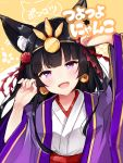 1girl animal_ears bangs bell bell_earrings black_hair blunt_bangs blush cat_ears commentary earrings eyebrows_visible_through_hair fukunoki_tokuwa highres japanese_clothes jewelry komachi_nono long_hair open_mouth otogi_resurrection paw_pose smile solo violet_eyes virtual_youtuber