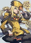 1girl black_legwear black_skirt blonde_hair blue_eyes commentary cowboy_shot flower grey_background guilty_gear guilty_gear_xrd hair_flower hair_ornament hand_up hat highres jacket jewelry long_hair long_sleeves looking_at_viewer millia_rage one_eye_closed pantyhose parted_lips prehensile_hair ring simple_background skirt solo thumb_ring westxost_(68monkey) yellow_jacket