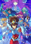 1girl 5boys andromeda_shun armor athena_(saint_seiya) black_hair blonde_hair blue_eyes breastplate brown_eyes brown_hair closed_eyes closed_mouth cygnus_hyoga dragon_shiryu fingerless_gloves frown gauntlets gloves green_eyes green_hair grin hair_between_eyes hand_up headpiece highres kotatsu_(g-rough) looking_at_viewer multiple_boys open_mouth pauldrons pegasus_seiya phoenix_ikki purple_hair saint_seiya signature smile