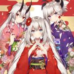 3girls bangs blue_eyes fate/grand_order fate_(series) floral_print hair_between_eyes hair_tubes hands_clasped japanese_clothes kimono long_hair looking_at_viewer marie_antoinette_(fate/grand_order) miyamoto_musashi_(fate/grand_order) multiple_girls necomi obi oni oni_horns own_hands_together petals pink_kimono purple_kimono red_eyes red_kimono sash sidelocks signature silver_hair tomoe_gozen_(fate/grand_order) twintails wide_sleeves