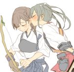 2girls bow_(weapon) brown_hair closed_eyes closed_mouth commentary_request grey_hair holding japanese_clothes kaga_(kantai_collection) kantai_collection multiple_girls muneate nape ree_(re-19) side_ponytail simple_background smile twintails weapon white_background zuikaku_(kantai_collection)