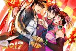 2017 3boys adapted_costume baoquan_li battle_tendency black_gloves black_hair blue_hair brown_hair catsizuru chinese_clothes chinese_new_year crossdressing dutch_angle elbow_gloves family fish gloves hair_ornament hat holding_fish jojo_no_kimyou_na_bouken jonathan_joestar joseph_joestar_(young) kung_fu_salute kuujou_joutarou lantern makeup multiple_boys paper_lantern phantom_blood stardust_crusaders