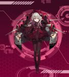 1girl absurdres black_bow black_gloves black_legwear boots bow brown_eyes dress full_body gloves grey_hair hair_bow hair_ornament hat highres huge_filesize long_sleeves medal medium_hair pantyhose pink_background red_dress red_hat riding_crop shatte solo steelblue_mirage tilted_headwear turret zhan_jian_shao_nyu