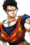 1boy arms_at_sides black_eyes black_hair dougi dragon_ball dragonball_z light_smile lock looking_at_viewer male_focus muscle short_hair simple_background smile son_gohan spiky_hair st62svnexilf2p9 standing upper_body white_background