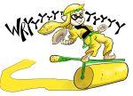1girl black_shirt blonde_hair captainanaugi cosplay crossover dio_brando dio_brando_(cosplay) domino_mask green_headband headband ink inkling jacket jojo_no_kimyou_na_bouken mask shirt smile solo splat_roller_(splatoon) splatoon_(series) stardust_crusaders wryyyyyyyyyyyyyyyyyyyy yellow_eyes yellow_jacket