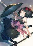 1girl :o bare_shoulders black_dress black_footwear black_hair black_legwear blush bow breasts dress flower frills grey_eyes hair_flower hair_ornament hat hat_removed headwear_removed highres holding holding_sword holding_weapon kikkaiki looking_at_viewer pink_bow princess_principal shadow sheath shoes short_hair small_breasts solo spyglass sword thick_eyebrows toudou_chise weapon white_background