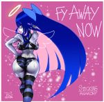1girl ass bare_shoulders black_legwear black_panties blue_eyes blue_hair blue_legwear blue_panties breasts commentary_request dated from_behind halo highres large_breasts long_hair looking_at_viewer looking_back medium_breasts panties panty_&_stocking_with_garterbelt pink_background signature simple_background solo stocking_(psg) striped striped_legwear striped_panties the_golden_smurf thigh-highs thighs underwear very_long_hair