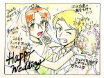 blush bridal_veil dress howard mujin_wakusei_survive older rakikoko sharla sketch smile veil wedding wedding_dress