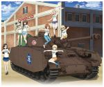 6+girls anchovy black_hair blonde_hair blue_eyes brown_eyes brown_hair building caterpillar_tracks clouds darjeeling day emblem girls_und_panzer ground_vehicle katyusha kay_(girls_und_panzer) key_visual long_hair military military_vehicle motor_vehicle multiple_girls nishi_kinuyo nishizumi_maho nishizumi_miho official_art ooarai_(emblem) panzerkampfwagen_iv shirt short_hair skirt sky smile tank