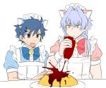 animal_ears azmy_(nyanbou) blue_eyes blue_hair cat_ears fake_animal_ears food idolmaster idolmaster_side-m ketchup ketchup_bottle kizaki_ren looking_down male_focus multiple_boys omelet ponytail silver_hair taiga_takeru yellow_eyes