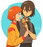 blush eating food highres ice_cream kaoru_(mujin_wakusei_survive) luna_(mujin_wakusei_survive) mujin_wakusei_survive open_mouth rakikoko
