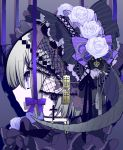 1girl bonnet closed_mouth commentary_request cross cross_earrings earrings eyebrows_visible_through_hair flower from_side grey_hair grey_rose hair_ornament highres horns jewelry mochizuki_kei original portrait profile purple_ribbon ribbon rose solo violet_eyes