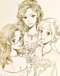 dress glasses gown highres jewelry luna_(mujin_wakusei_survive) menori monochrome mujin_wakusei_survive necklace older rakikoko sharla sketch smile wreath