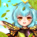 1girl amanojaku antennae arm_up bangs blue_hair blue_sky blush butterfly_wings clouds dress eternity_larva layered_dress leaf leaf_on_head light_blue_hair looking_at_viewer open_mouth outdoors short_hair sky solo touhou upper_body wings yellow_eyes