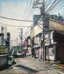 barber_pole building car city colored_pencil_(medium) commentary copyright_name dated ground_vehicle hayashi_ryouta manhole mirror motor_vehicle original outdoors power_lines real_world_location realistic road road_sign scenery shopping_district shutter sign signature sky street telephone_pole tokyo_(city) traditional_media traffic_light