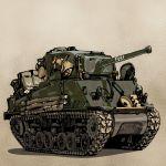 1boy caterpillar_tracks fury_(movie) ground_vehicle highres kamu_(kamu-fb) m4_sherman military military_vehicle motor_vehicle tank