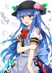 1girl arm_grab bandaid bangs bare_shoulders black_hat blouse blue_hair blue_skirt blush bow bowtie center_frills commentary_request cowboy_shot e.o. eyebrows_visible_through_hair food fruit grabbing_own_arm hair_between_eyes hat highres hinanawi_tenshi leaf long_hair looking_at_viewer open_mouth peach puffy_short_sleeves puffy_sleeves red_bow red_eyes red_neckwear short_sleeves sidelocks simple_background skirt solo tears torn_blouse torn_bow touhou v-shaped_eyebrows very_long_hair white_background white_blouse wing_collar