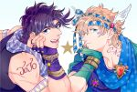 2boys armband battle_tendency blonde_hair blue_eyes blue_hair bracelet caesar_anthonio_zeppeli facial_mark feathers fingerless_gloves gloves green_eyes hair_feathers headband jewelry jojo_no_kimyou_na_bouken joseph_joestar_(young) koeri male_focus multiple_boys polka_dot polka_dot_scarf purple_hair red_stone_of_aja ring scarf striped striped_scarf