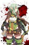 1girl belly_peek belt black_gloves blood boots bow bow_(weapon) breasts brown_footwear cape commentary_request cowboy_shot cross-laced_clothes elbow_gloves elf gloves goblin goblin_slayer! green_eyes green_hair hair_bow high_elf_archer_(goblin_slayer!) highres holding holding_weapon knife long_hair looking_to_the_side pointy_ears quiver short_hair short_shorts shorts sidelocks skyrail small_breasts standing thigh-highs thigh_boots weapon