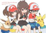 1boy 2girls ayumi_(pokemon) baseball_cap black_eyes black_hair blue_(pokemon) blue_shorts brown_eyes brown_hair copyright_name creatures_(company) dated eevee game_freak gen_1_pokemon hat holding holding_poke_ball jacket kakeru_(pokemon) kokoroko long_hair multiple_girls nintendo open_mouth pikachu poke_ball pokemon pokemon_(creature) pokemon_(game) pokemon_lgpe ponytail short_hair short_sleeves shorts simple_background sitting skirt twitter_username white_background wristband