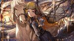 armored blue_eyes blush brown_hair horse idolmaster idolmaster_million_live! idolmaster_million_live!_theater_days long_hair shinomiya_karen warrior