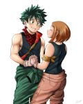1boy 1girl armoredleo bandanna black_shirt blush boku_no_hero_academia brown_hair brown_pants closed_eyes clothes_around_waist commentary english_commentary freckles gloves green_eyes green_hair green_pants hand_holding hetero highres jacket_around_waist looking_at_another messy_hair midoriya_izuku muscle pants shirt short_hair smile tank_top uraraka_ochako