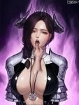 1girl armor arms_at_sides black_hair breasts center_opening collarbone commentary_request commission demon_girl demon_horns finger_in_mouth hair_over_shoulder hair_tie heart highres horns kimdonga korean korean_commentary large_breasts long_hair looking_at_viewer mabinogi mabinogi_heroes multicolored_hair pov pov_hands purple_background purple_hair red_eyes shiny shiny_clothes signature solo_focus tongue translation_request two-tone_hair upper_body upper_teeth