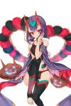 1girl absurdres black_legwear blush collarbone detached_sleeves fate/grand_order fate_(series) green_ribbon groin hair_between_eyes hair_ornament hair_ribbon highres horns kh_(kh_1128) leggings makeup midriff pumpkin purple_hair ribbon short_hair short_twintails shuten_douji_(halloween)_(fate) sitting smile solo stomach twintails violet_eyes white_background
