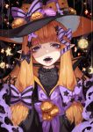 1girl bangs black_bow black_cat black_hat black_stripes blunt_bangs bow cat commentary_request doku-chan_(dokkudokudoku) fangs food half-closed_eyes halloween hat highres horizontal_stripes jack-o'-lantern lips long_hair looking_at_viewer macaron original parted_lips pointy_ears print_bow pumpkin purple_bow solo star star_print striped striped_bow tongue tongue_out violet_eyes