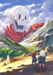 1other 2boys :d artist_name blue_sky brothers cliff clouds day facing_away frisk_(undertale) giant gloves hand_up hood hood_down hoodie looking_at_viewer maa_tc mountain multiple_boys open_mouth outdoors papyrus_(undertale) red_footwear red_gloves sans shirt siblings size_difference sky smile striped striped_shirt tree undertale waving