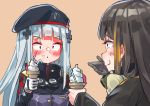 2girls aamond absurdres beret black_hair blonde_hair blush candy candy_cane embarrassed food food_on_face girls_frontline gloves goggles goggles_around_neck hat highlights highres hk416_(girls_frontline) ice_cream ice_cream_cone ice_cream_on_face iron_cross laughing m16a1_(girls_frontline) multicolored_hair multiple_girls silver_hair single_glove