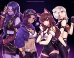 4girls animal_ears ashe_(overwatch) atobesakunolove bare_shoulders baseball_cap belt black_choker black_gloves bracelet breasts brown_hair choker cleavage closed_mouth cosplay crossed_arms d.va_(overwatch) dark_skin facebook_username facial_mark fingerless_gloves glasses gloves hair_bun hair_ornament hand_up hat heart heart_hair_ornament highres jewelry k/da_(league_of_legends) k/da_ahri k/da_ahri_(cosplay) k/da_akali k/da_akali_(cosplay) k/da_evelynn k/da_evelynn_(cosplay) k/da_kai'sa k/da_kai'sa_(cosplay) kemonomimi_mode large_breasts league_of_legends long_hair looking_at_viewer medium_breasts mole multiple_girls navel overwatch pince-nez pink-tinted_eyewear purple_hair purple_skin red_eyes short_shorts shorts skin_tight smile sombra_(overwatch) standing thigh-highs watermark web_address white_hair widowmaker_(overwatch)