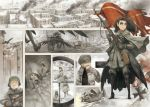 1girl after_battle asterisk_kome bolt_action boots building camouflage city cityscape commentary flag flying gloves gun hat helmet highres long_hair military military_hat military_uniform mosin-nagant multiple_girls original rifle ruins scope sky sniper sniper_scope soldier uniform weapon wings