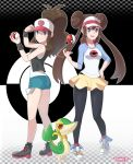 2girls absurdres bare_legs baseball_cap black_legwear black_vest blue_eyes bow brown_hair creatures_(company) curly_hair cutoffs denim denim_shorts double_bun exposed_pocket female game_freak gen_5_pokemon hat high_ponytail highres legwear_under_shorts long_hair mei_(pokemon) multiple_girls nintendo pantyhose pink_bow pokemon pokemon_(creature) pokemon_(game) pokemon_bw pokemon_bw2 raglan_sleeves sarukaiwolf shirt shoes short_shorts shorts sidelocks sleeveless sleeveless_shirt sneakers snivy tank_top touko_(pokemon) twintails very_long_hair vest visor_cap white_shirt wristband yellow_shorts