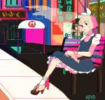 1girl animated animated_gif aqua_eyes blonde_hair bow breasts commentary dress english_commentary hair_bow highres looking_at_viewer neon_lights original road routexx short_hair short_sleeves sidewalk small_breasts smoke smoking socks solo street white_bow white_legwear