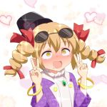 :d ahegao blonde_hair blush bracelet cato_(monocatienus) commentary double_v drill_hair drooling eyebrows_visible_through_hair eyewear_on_head hair_between_eyes hair_ribbon hat heart jewelry long_hair necklace nose_blush open_mouth red_ribbon ribbon ring rolling_eyes smile sunglasses tears touhou unmoving_pattern upper_body v yellow_eyes yorigami_jo'on