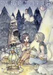 1girl 3boys adelbert_steiner armor black_hair black_mage blonde_hair bodysuit breasts commentary_request deboo final_fantasy final_fantasy_ix garnet_til_alexandros_xvii jewelry long_hair moogle multiple_boys necklace orange_bodysuit short_hair sword traditional_media vivi_ornitier watercolor_(medium) weapon yellow_eyes zidane_tribal