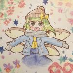 1girl :d blue_coat coat daiyousei fairy_wings green_hair grey_scarf hat jacket mittens open_mouth ponytail ribbon salt_(seasoning) scarf smile touhou traditional_media watercolor_pencil_(medium) wings winter_clothes winter_coat yellow_ribbon
