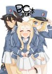 3girls :d :p adjusting_clothes adjusting_hat andou_(girls_und_panzer) animal_ears arm_grab bangs bc_freedom_(emblem) bc_freedom_military_uniform black_hair blonde_hair blue_eyes blue_hat blue_jacket blue_vest brown_eyes cat_ears cat_tail commentary_request cover cover_page cowboy_shot dark_skin doujin_cover dress_shirt drill_hair emblem frown girls_und_panzer hat hat_removed headwear_removed high_collar jacket kemonomimi_mode kumasawa_(dkdkr) light_blush long_hair long_sleeves looking_at_viewer marie_(girls_und_panzer) medium_hair messy_hair military military_hat military_uniform miniskirt multiple_girls open_mouth oshida_(girls_und_panzer) pleated_skirt shako_cap shirt simple_background skirt smile tail tongue tongue_out translated uniform v-shaped_eyebrows vest white_background white_shirt white_skirt