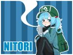 1girl alternate_costume backpack bag bangs black_gloves black_pants blue_background blue_eyes blue_hair blue_jacket blunt_bangs character_name commentary_request cup gloves green_hat hair_bobbles hair_ornament half-closed_eyes hat holding holding_cup jacket jakomurashi kawashiro_nitori knees_up long_hair long_sleeves mug pants sitting solo striped striped_background touhou