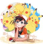 1boy baseball_cap berry black_eyes black_hair bluk_berry creatures_(company) game_freak gen_1_pokemon hat highres kakeru_(pokemon) male_focus nintendo oushimaru pikachu poke_ball poke_ball_(generic) pokemon pokemon_(creature) pokemon_(game) pokemon_lgpe sleeping smile solo sparkle table thinking zzz