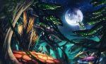 1girl animal bioluminescence black_tank_top boots deer full_moon giant_mushroom highres keruusu_(xenoblade_x) light_particles lilithcosa looking_up moon nature night night_sky noctilum outdoors plant scenery short_shorts shorts sky tree xenoblade_chronicles_x