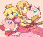 2girls 2others artist_name balloon_(pokemon) blonde_hair blue_eyes bracer cat_ears cheek-to-cheek color_connection creatures_(company) crown dairantou!_smash_brothers_dx dairantou!_smash_brothers_special dress elbow_gloves eyebrows_visible_through_hair game_freak gen_1_pokemon gloves hal_laboratory_inc. hoshi_no_kirby hug human hylian jigglypuff kirby kirby_(series) long_hair looking_at_another looking_at_viewer mario_(series) mini_crown multiple_girls nintendo nintendo_all_stars_dairantou!_smash_brothers nintendo_ead one_eye_closed open_mouth parted_lips pink pink_background pink_dress pink_puff_ball pointy_ears pokemon pokemon_(creature) pokemon_frlg pokemon_rgby princess_peach princess_zelda puffy_short_sleeves puffy_sleeves short_sleeves smile super_smash_bros. super_smash_bros._ultimate super_smash_bros_64 super_smash_bros_melee the_legend_of_zelda the_legend_of_zelda:_a_link_between_worlds the_legend_of_zelda:_a_link_to_the_past tiara upper_body white_gloves wusagi2 zelda_no_densetsu
