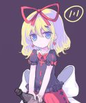 1girl alcohol blonde_hair blue_eyes bottle bow doll earrings frilled_shirt frilled_shirt_collar frills heart heart_earrings holding holding_bottle huge_bow jewelry medicine_melancholy petite puffy_short_sleeves puffy_sleeves purple_background red_ribbon red_skirt ribbon shirt short_hair short_sleeves simple_background skirt touhou vils white_bow younger